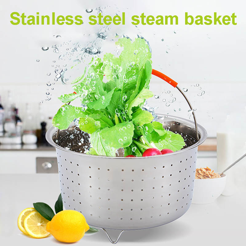 Hot Stainless Steel Steamer Basket Vegetable Drain Basket Pressure Cooker Home Kitchen Tool L99