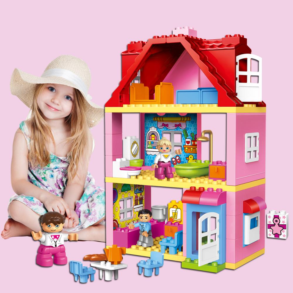 QWZ Girl Princess Large Size Blocks Sets Compatible Duploed Family House Bricks Bricks Building Blocks Toys For Children