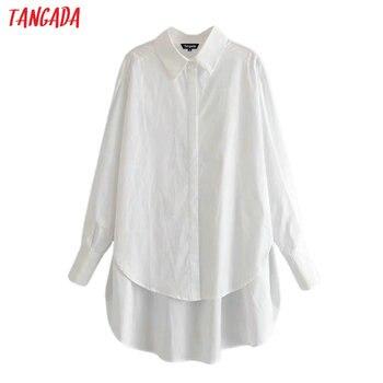 Tangada informal-Blusa de manga larga para mujer, camisa color liso con cuello, estilo boyfriend, 6P04