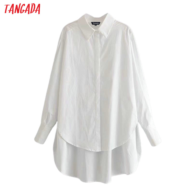 Tangada Women Boyfriend Style White Shirts Long Sleeve Solid Turn Down Collar Ladies Casual Blouses 6P04