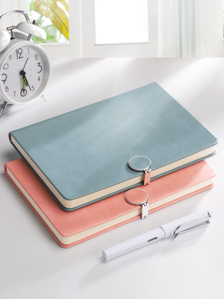 A5 Small Fresh Imitation Leather Simple Notebook Different Colors With Thick Office Notebook Solid Color Buckle Stationery Book