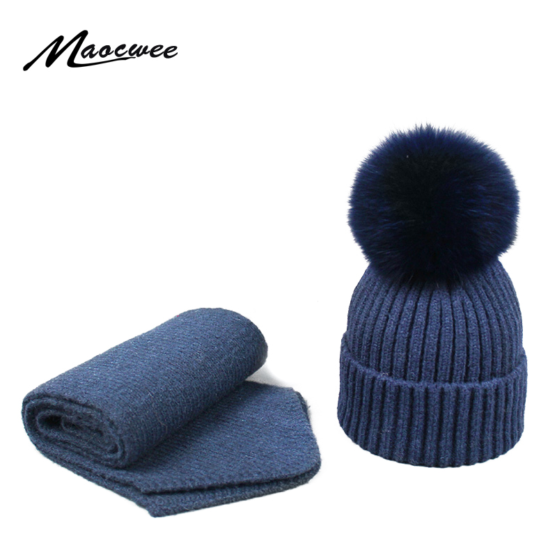 Children Women Hat Scarf Hat Set PomPon Knitted Skullies Beanies Cap Real Fox Ball Autumn Winter Warm Solid Color Striped Hats