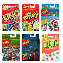 Mattel Games UNO Card Games Harry Potter Minecraft Super Mario Emoji Blink The World's Fastest Game Funny Party Card Game(China)