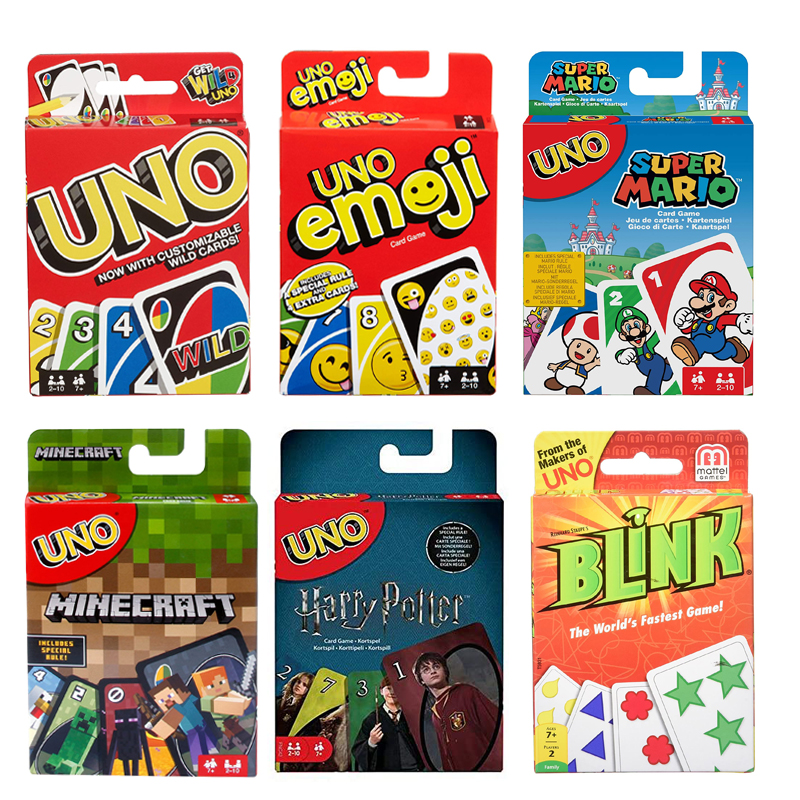 Mattel Games UNO Card Games Harry Potter Minecraft Super Mario Emoji Blink The World's Fastest Game Funny Party Card Game