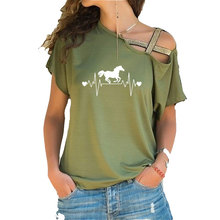 Horse Running Heartbeat Lifeline print Women Short Sleeve Co