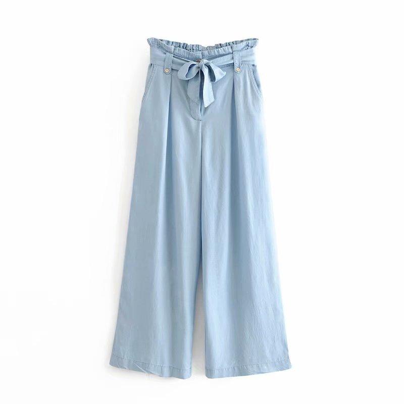 Hot Sale Women Vintage High Waist Wide Leg Paper Pants Chic Pockets Bow Sashes Denim Trousers Female Pantalones Mujer Pants P621