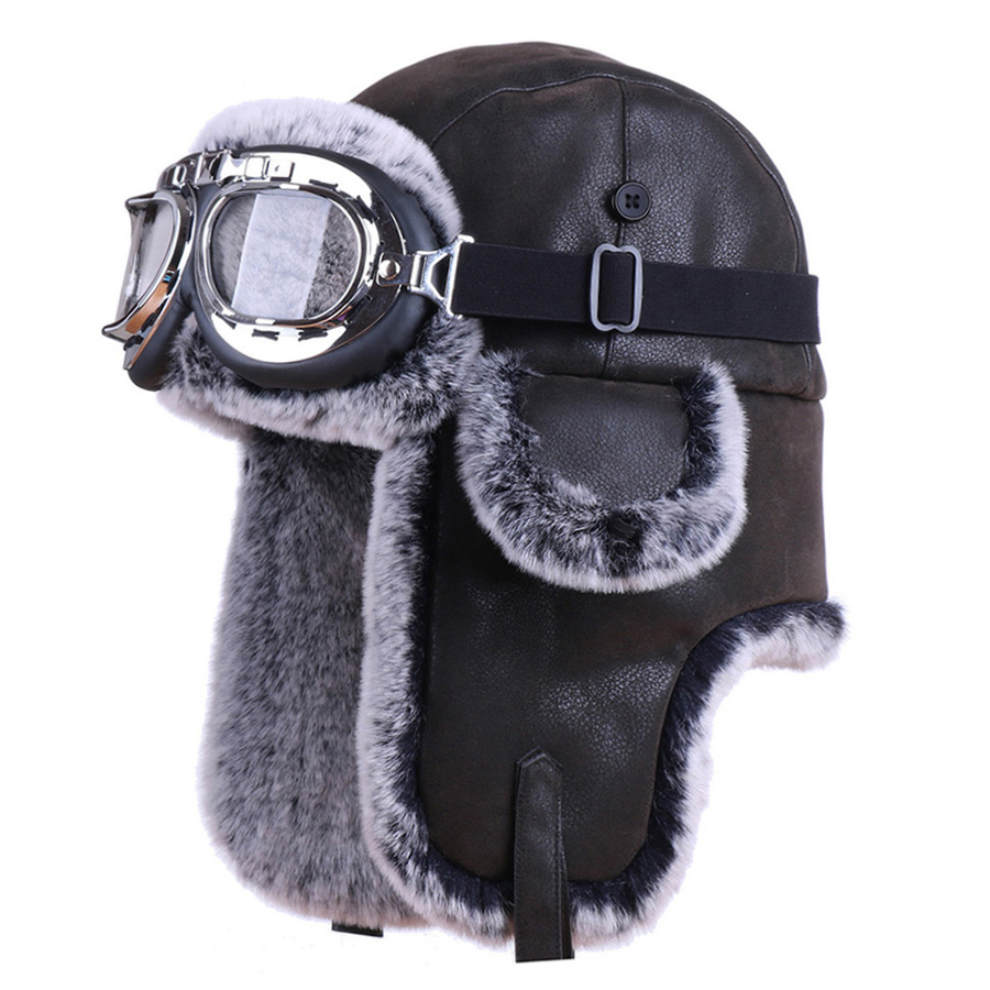 Women/'s Men/'s Teens American Flag Peruvian Bomber Trapper Hat Deluxe Fur Cap