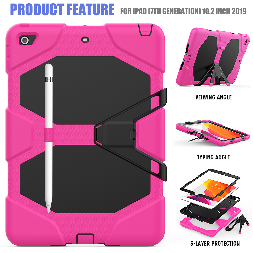 iPad 10.2 Kickstand Shockproof Armor Rugged For Duty Heavy PC Kids Case Case Silicone