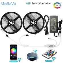 SMD 5050 DC 12V Flexible WiFi RGB LED Strip Works With Amazon Alexa Google Home IFFFT Siri Sync To Music For Home Party Decor cheap MoRaVa Epistar living room SMD5050 ROHS 3 84W m 50000 12V WIFI LED Strip Touch 5050 wifi led strip 2m 3m 5m 10m 15m WIFI LED Controller