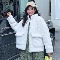 TXJRH Stylish Hairy Shaggy Faux Mink Fur Loose Coat Long Sleeve Two Pockets Women Furry Faux Fur Jacket Outerwear Tops 2 Colors