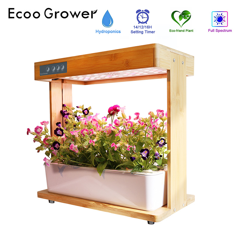 Bamboo Hydroponics System Intelligent Box With Grow Light Ecoo Grower Home Garden Nursery Pots