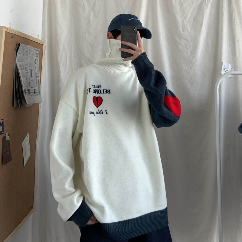UYUK2019 Winter New College-style Casual Reversible Turtleneck Love Letter Embroidery Matching Colors For Men's Sweaters Hombre