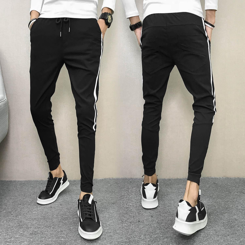 MEN'S Pants Casual Pants Korean-style Trend Trousers Skinny Pants Social Person Ankle Banded Pants Versatile Elasticity Tight Sl