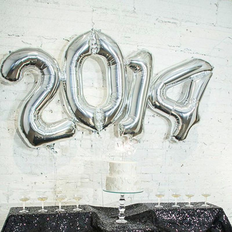 1 buc 16inch Gold Silver Number 0-9 baloane cu folie digitală - Produse pentru sărbători și petreceri - Fotografie 5