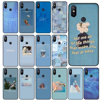 Blue Pink Aesthetics Songs lyrics Aesthetic Phone Case For Redmi 8 K20 Note4 Note5 5A 7 Note6 8pro Coque Shell Coque Shell image