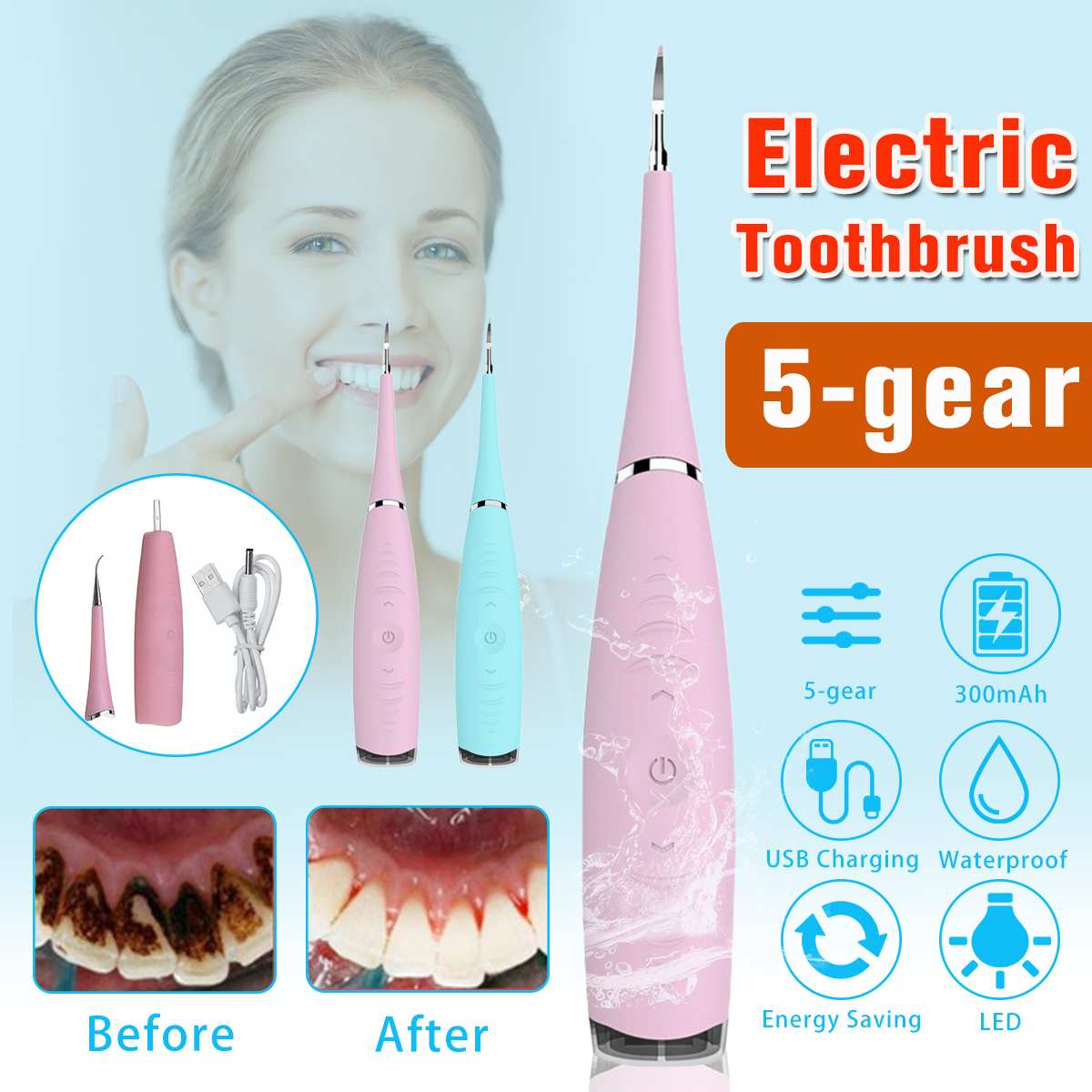 200mA Electric Sonic Dental Scaler Tooth Calculus Remover Tooth Stains Tartar Tool Dentist Whiten Teeth Health