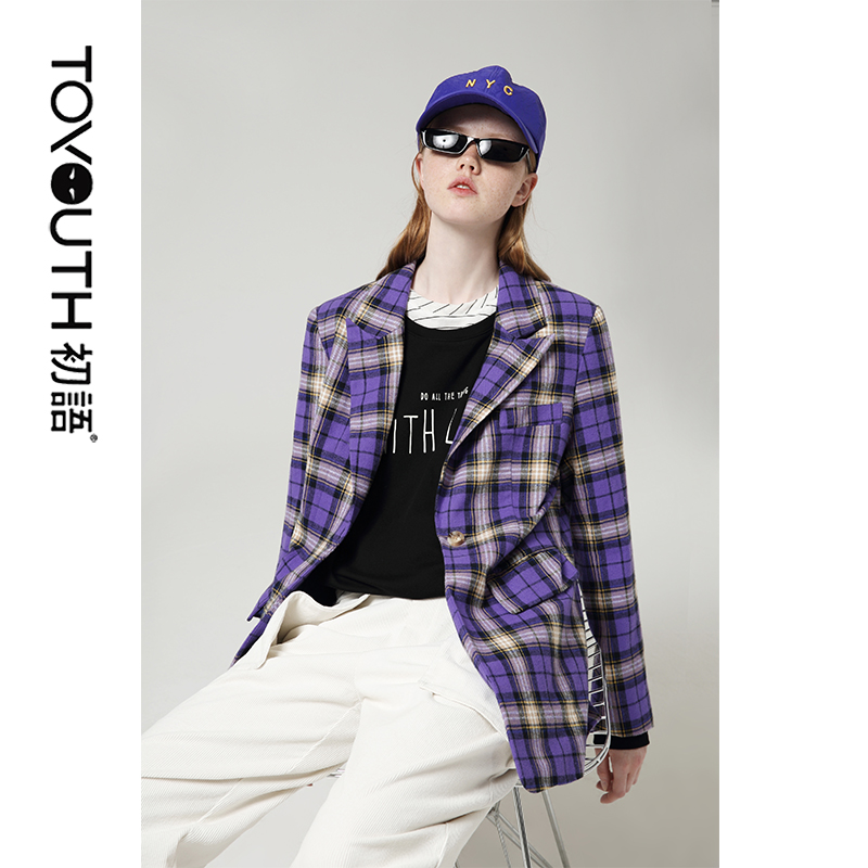 Toyouth Office Ladies Fashion Purple Plaid Blazers Single Button Long Sleeve Work Coats Women All Match Blazers