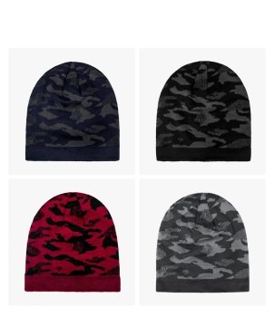 Men's Beanie Hat Winter Warm Camouflage Pullover Caps Knitting Hat for Sports Outdoor Ski Mountain Climbing and Winter Autumn free shipping 200pcs lot fashion lady girls winter warm knitting wool cat ear beanie ski hat cap