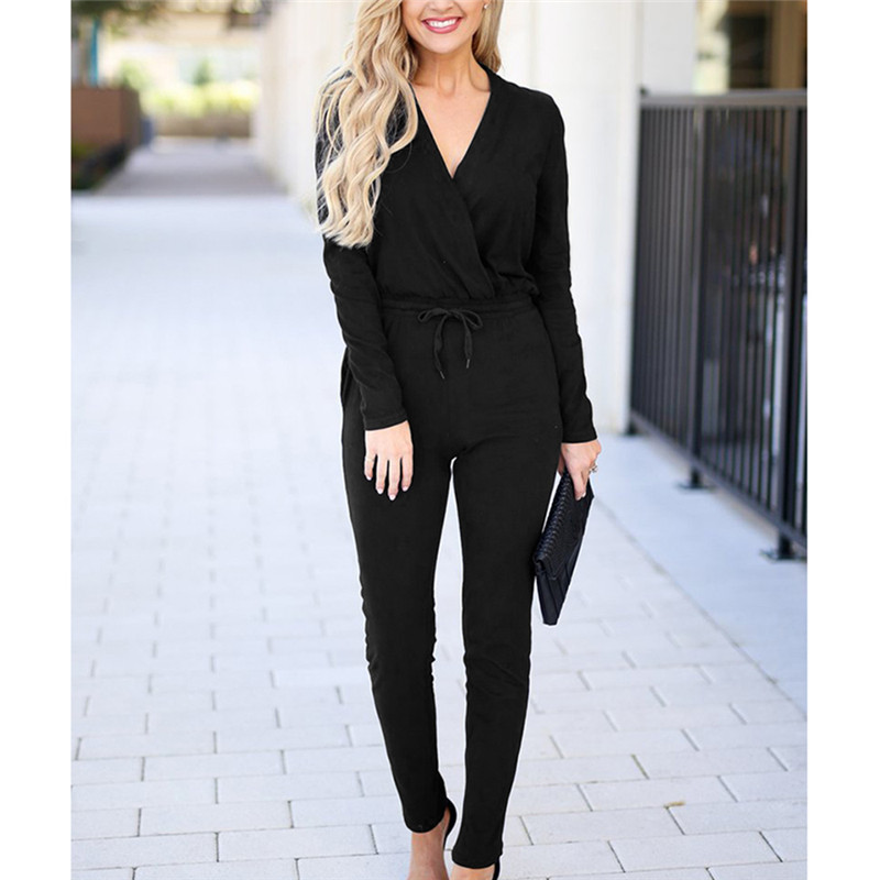 Nice Tide Sexy V-Neck Lace Up Pencil Jumpsuit Women Summer Long Sleeve Bodycon Jumpsuits Casual Solid Rompers