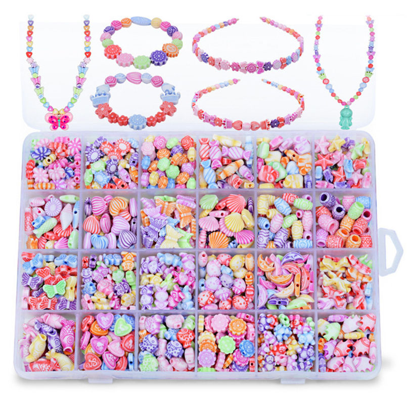 700Pcs/set 24 Grid Colorful Beads Creative Toys For Girls Jewelry DIY Handmade Making Puzzle Kit Arts And Crafts Children Toy