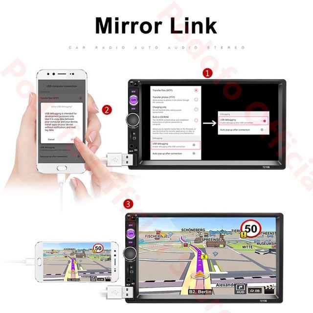 Lecteur multimédia Podofo 2Din Android autoradio RAM 2G + ROM 32G Navigation GPS BT FM WiFi sans dvd 2 DIN Radio pour VW Nissan Kia 2