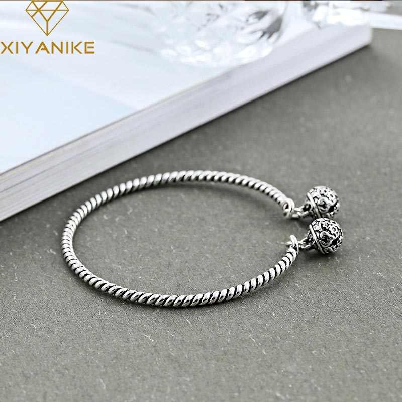XIYANIKE 925 Sterling Silver Hot Sale Vintage Bell Weaving Bangles & Bracelet National Style Creative Jewelry For Women Gift