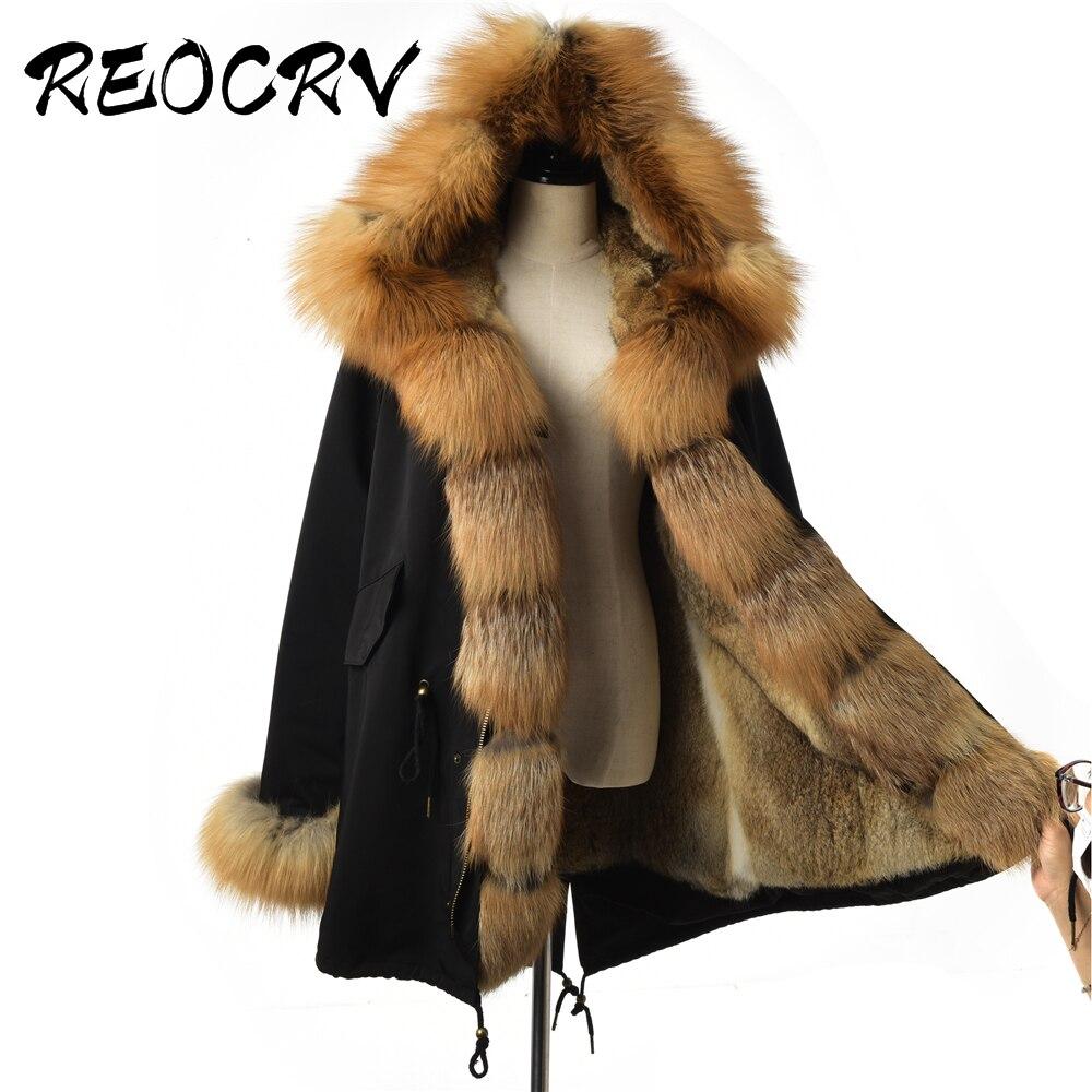 Reocrv preto jaqueta feminina plus size natural vermelho pele de raposa parkas rex pele de coelho casaco de inverno feminino real pele parka parkas à prova dwaterproof água