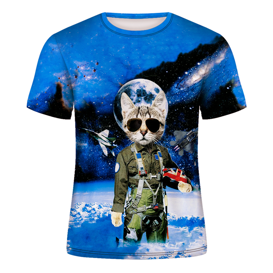 Space Cat T-shirt Men's Summer Casual Short-sleeved T-shirt Men's And Women's Clothing Animal 3d-printed Top T-shirts