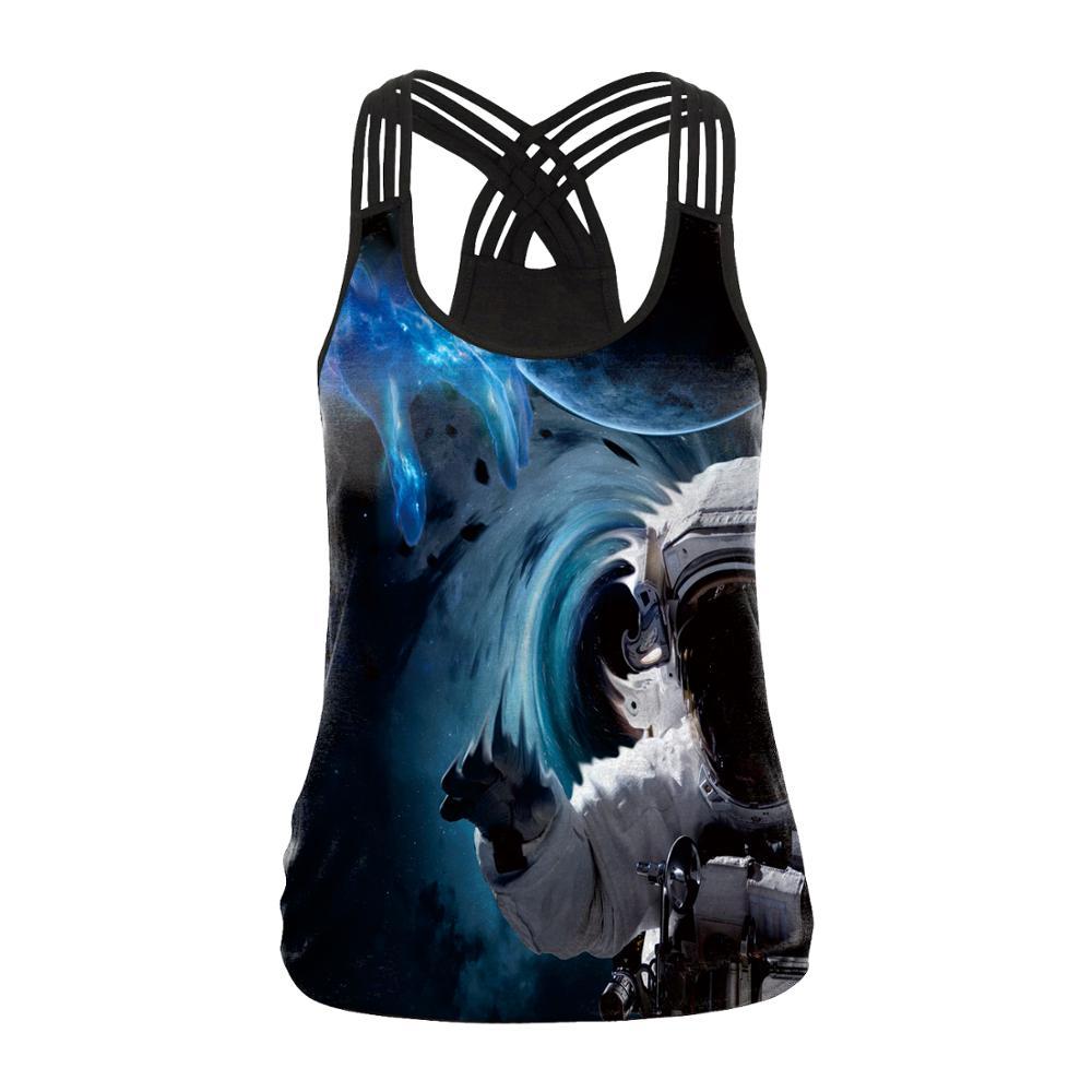 Купить с кэшбэком Women Sport Vest Galaxy Print Spaceman Female Yoga Shirts Bandage Fitness T-shirts Running Cross Halter Tank Tops Workout Blouse