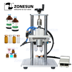 ZONESUN Pneumatic Oral Liquid Penicillin Antibiotic Injectable Bottle Capper Aluminum Plastic Glass Vial Crimper Capping Machine