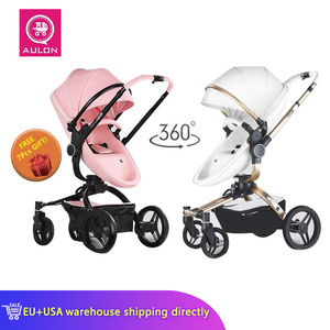 Fast Shipping Free Shipping Aulon PU Luxury Baby Stroller 3 in 1 High land-scape Fashion Carriage European design Pram on 2020(China)