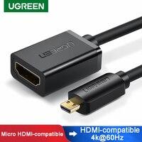 Ugreen adaptador Micro HDMI 4K/60Hz Micro a conector de Cable HDMI Convertidor para Raspberry Pi 4 GoPro Micro interruptor de Cable divisor