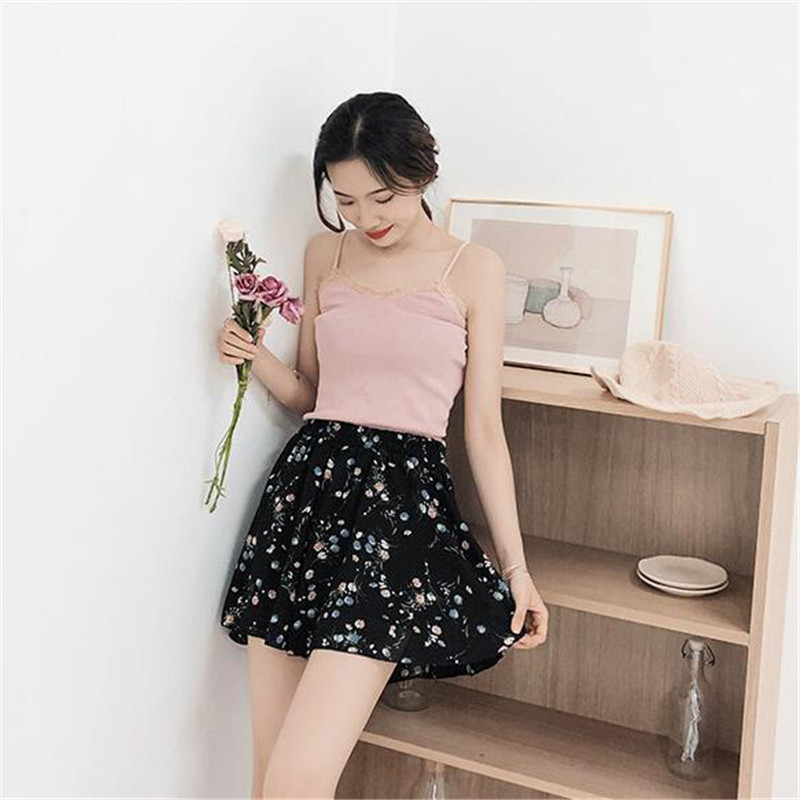 Floral Print Belted Shorts Women 2019 Summer Casual Shorts Ladies Boho Floral Print Elastic Waist Korean Fashion Wide Leg Shorts