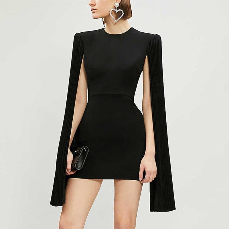 Short Sexy Evening Party Dress Extra Long Flare Sleeve Backless Bodycon Club Mini Dress Women Black Solid Elegant Dresses