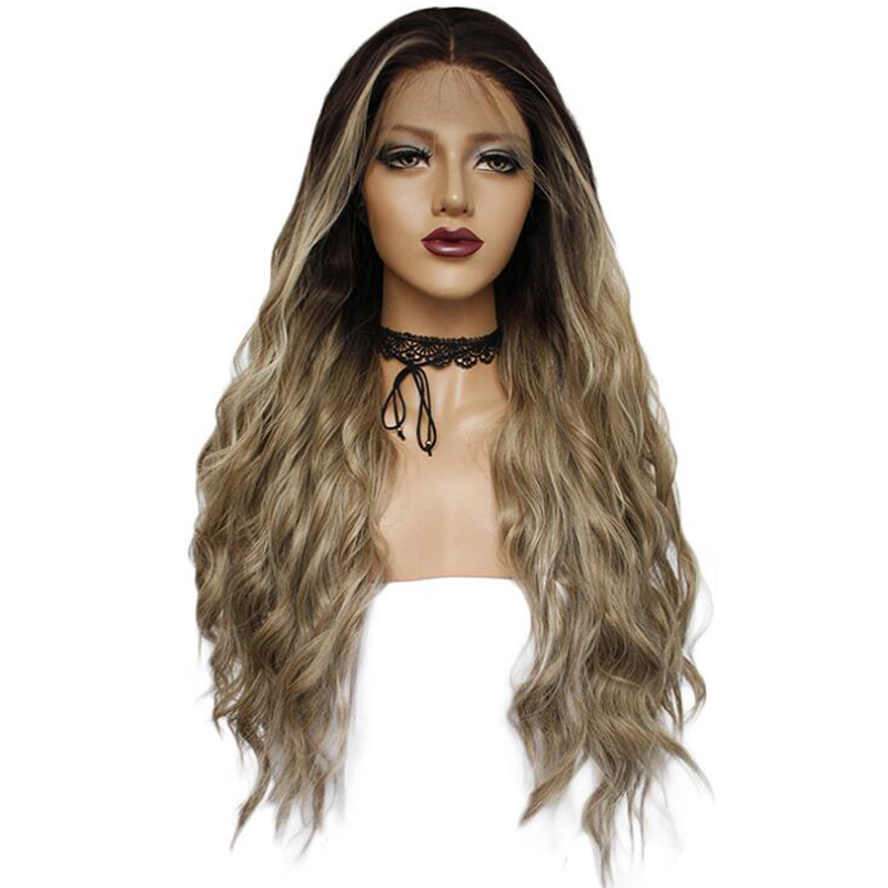 Gres Synthetic Lace Front Wigs with Baby Hair Long Wavy Wig Lace Front Ombre Flax Color High Temperature Fiber Hair Pieces