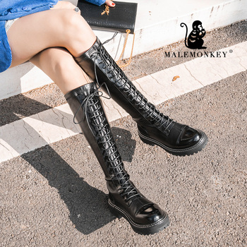 Women Knee High Boots Black Leather Over The Knee Boots Sexy Zipper Round Toe Shoes 2020 Winter Women High Boots For Women 94281 laigzem women over the knee boots faux leather waterproof back long zipper sexy ladies shoes womam botines mujer big size 4 19