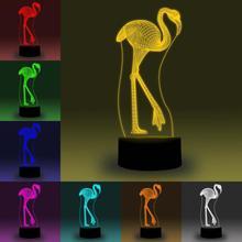 цена на NiteApps 3D Flamingo LED Night Light Desk Table Illusion Lamp Holiday Birthday Gift APP/Touch Control