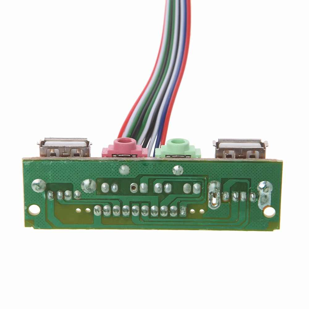 1pc caja de la computadora Panel frontal USB para Cable de auriculares de Audio Mic