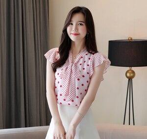 Image 5 - Dingaozlz أنيقة البولكا نقطة المرأة بلوزة الإناث الكورية بلوزات من الشيفون 2019 الصيف جديد الخامس الرقبة قصيرة الأكمام الكشكشة قميص