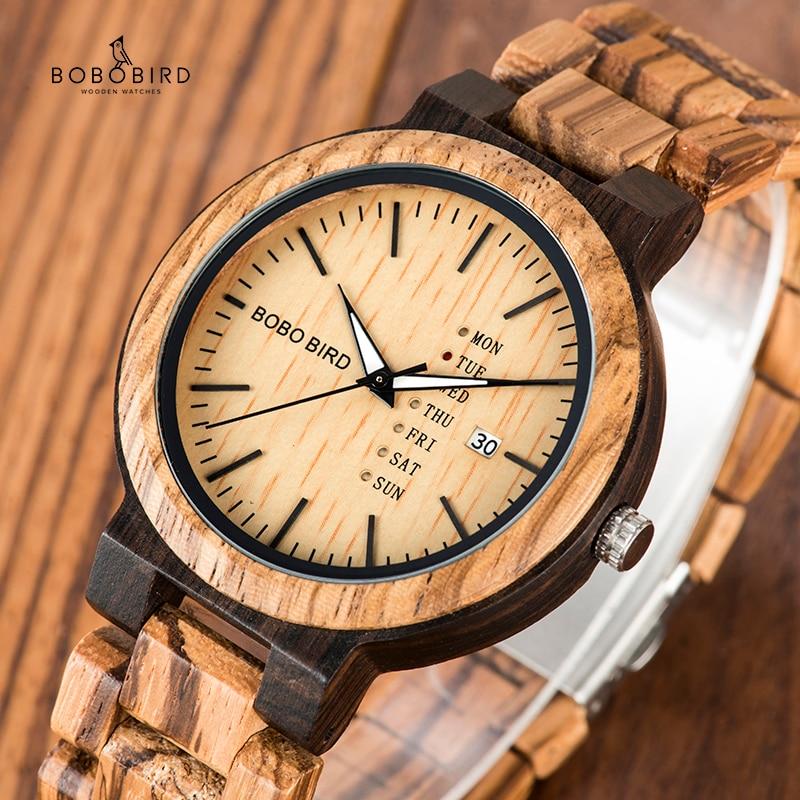 BOBO BIRD Wood Watch Men relogio masculino Week and Date Display Timepieces Casual Wooden Clock Boyfriend