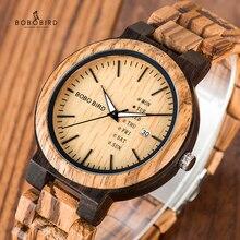 BOBO BIRD drewniany zegarek mężczyźni relogio masculino tydzień i wyświetlanie daty zegarki moda Casual drewniany zegar chłopak najlepszy prezent
