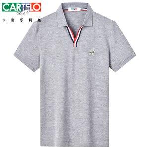 Image 1 - Dzys 2018 남성용 v 넥 폴로 셔츠 남성용 패션 셔츠 남성 3021