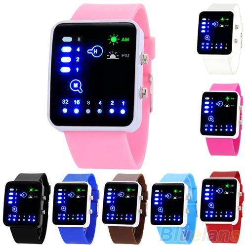 Trending Products Casual Couples Gift Unisex Binary System LED Square Dial Silicone Band Quartz Wrist Watch Valentine Couple Wat