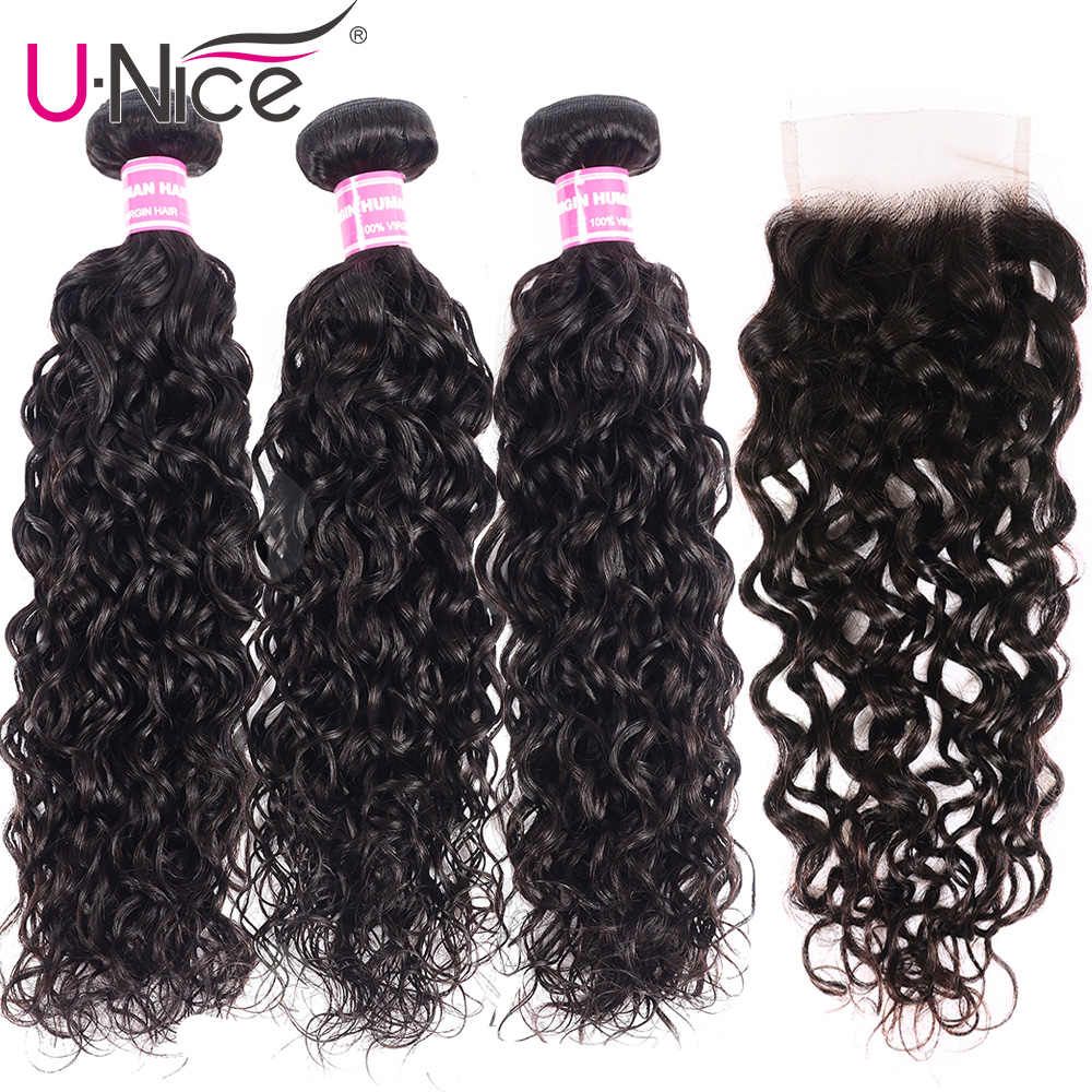 UNICE Hair Brazilian Loose Water Wave Bundles With Lace Closure Human Remy Hair Extensions 3 Bundles With Lace Closure