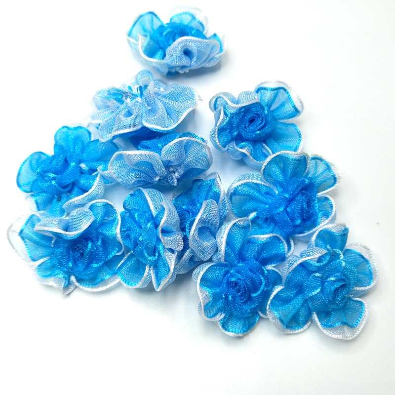 HL 30 pièces bleu organza ruban fleurs à la main fleurs vêtements accessoires de couture de mariage décoration artisanat bricolage appliques D0508
