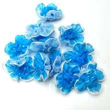 40pcs blue color organza ribbon flowers handmade apparel sewing accessories wedding decoration crafts A560