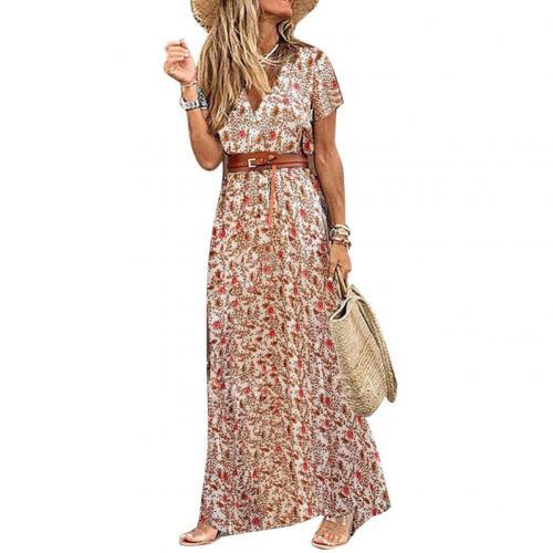 Fashion Boho Long Dress for Women V Neck Short Sleeve Paisley Print Belt Large Hem Beach Long Dress Elegant Women's Dress 2021 7