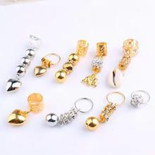 Shell-Pendant Hair-Rings Braid Beaded Dreadlocks Silver And Gold 5pcs Headdress-Plait