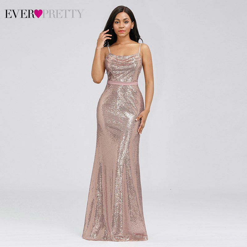 Sparkle Rose Gold Evening Dresses Ever Pretty EP07087RG Sequined Spaghetti Straps Backless Sexy Evening Gowns Robe De Soiree
