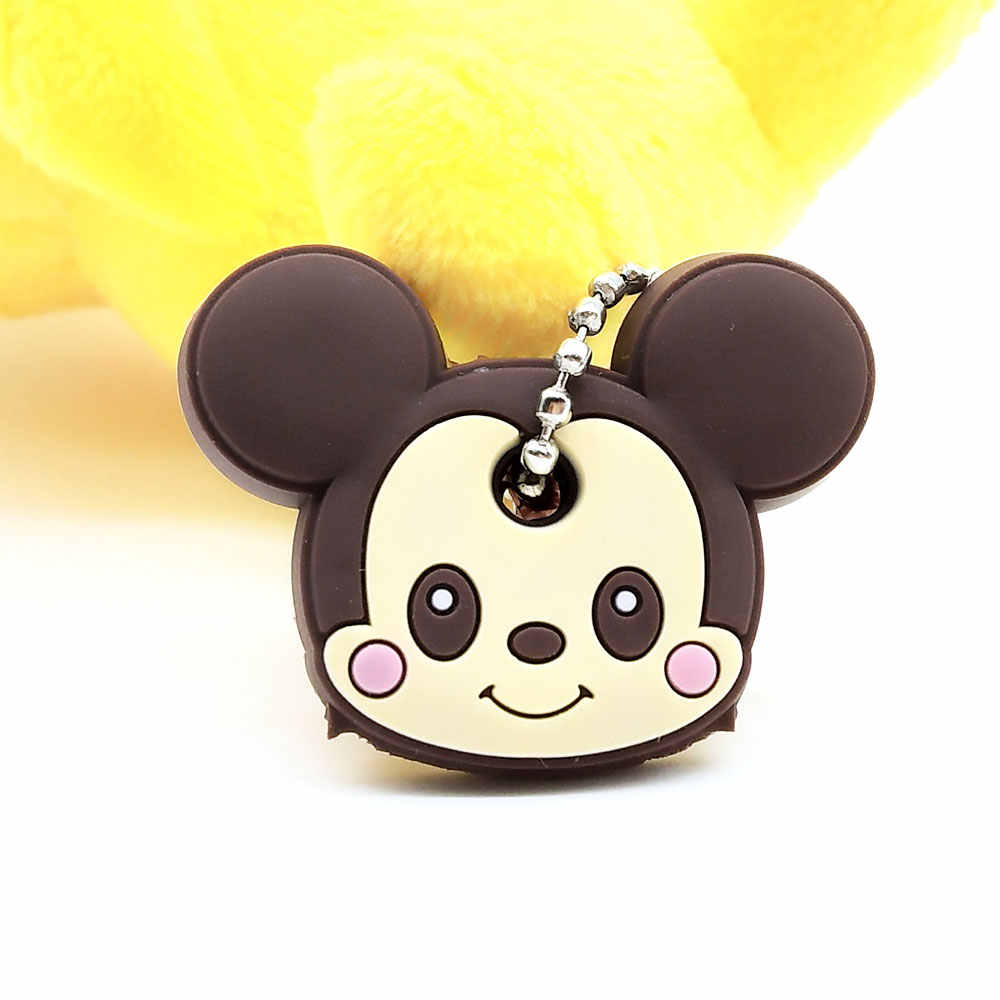 CHXINHNS 2 unids/set cubierta de la llave de Animal de dibujos animados lindo Anime llaveros de silicona mujeres divertido Animal llavero Caps regalo de niño